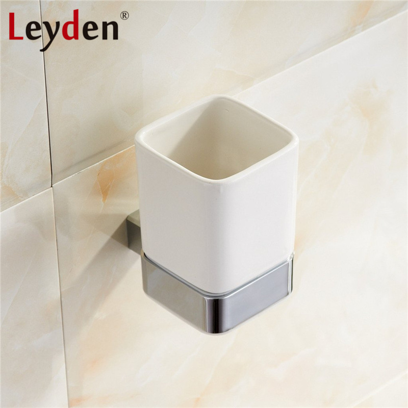 Leyden SUS 304 Stainless Steel Square Tumbler Toothbrush Holder Chrome Wall Mounted Toothbrush Tumbler Holder Bathroom Accessory image