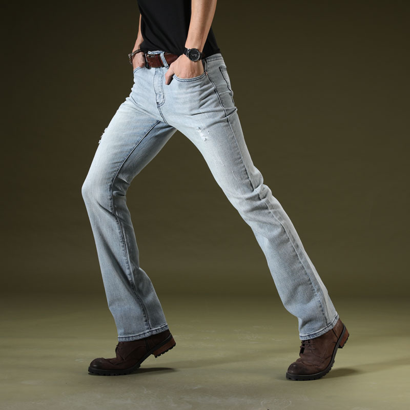 New Brand Mens Light Blue Ripped Flare Jeans Slim Fit Men Stretch Business Casual Denim Pants Office Long Flared Jeans Trousers