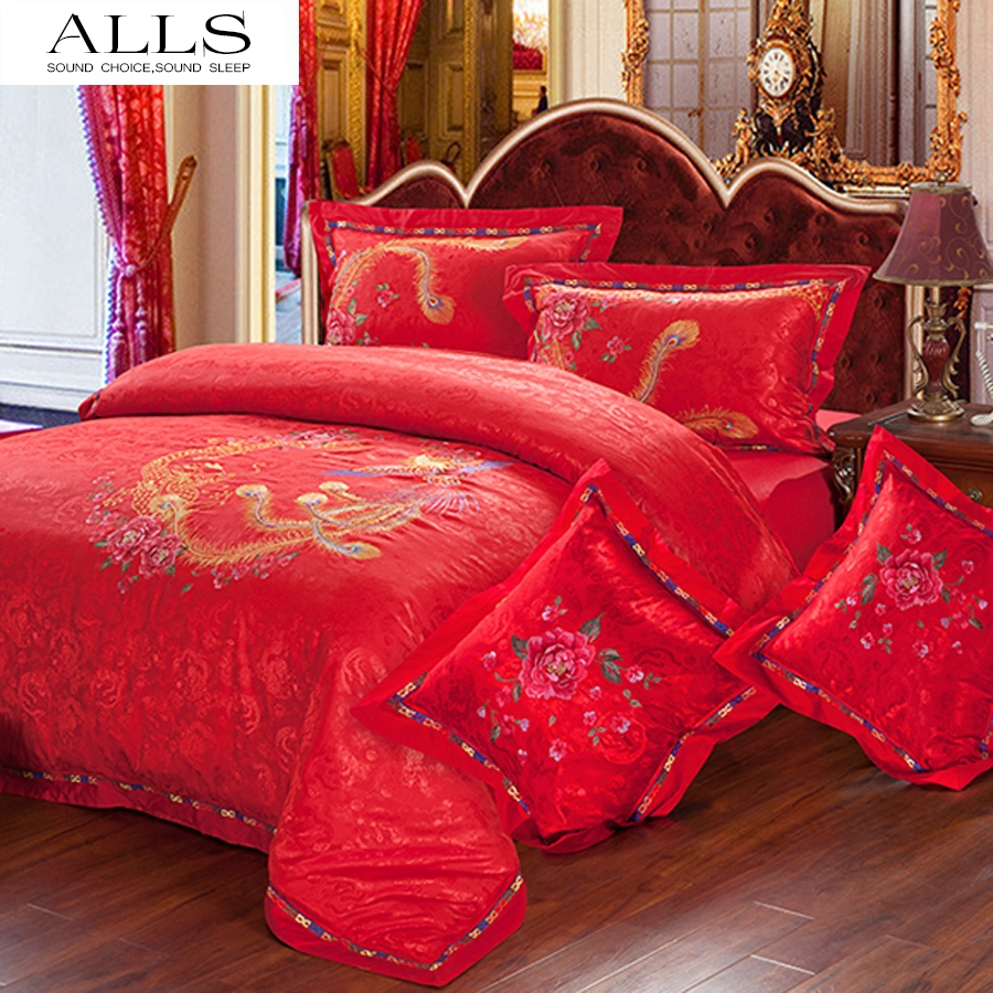 Wedding bed sheet set - High Quality 100 Silk Cotton Wedding Bedding Set Dovet Cover Pillow Case 6pcs