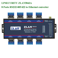 LPSECURTIY ZLAN5843A 8 ports RS232 RS485 RS422 to Ethernet TCP/IP converter multiple serial device server switch Modbus Gateway