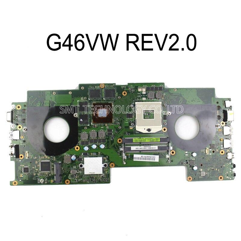For Asus G46VW Motherboard G46VW REV2.0 Mainboard PGA989 100% Tested n56vb motherboard n56vm rev2 3 mainboard gt740 4g ddr3 pga 989 fit n56vm n56vj n56vz 100% tested
