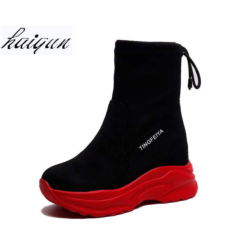 2018 Autumn Ankle Boots Shoes Woman Casual Elevator Wedge Platform Sneakers Breathable Female High Top Hidden Heels Casual Boots hidden wedge platform fuzzy boots