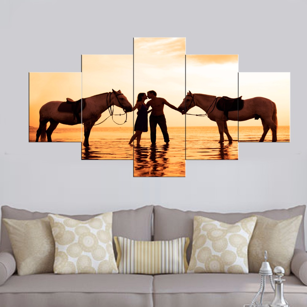 oil painting Romantic Sunset Sea Beach Lovers with horses Modular Canvas Print wall pictures living room cuadros decoracion 5 pc