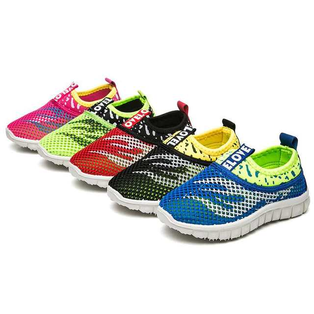 7ed53ee8aa2f8 Summer Boys Girls Running Shoes Kids Sneakers For Mesh Breathable Children  Sports Shoes Shock Absorption Soft Rubber Sole School