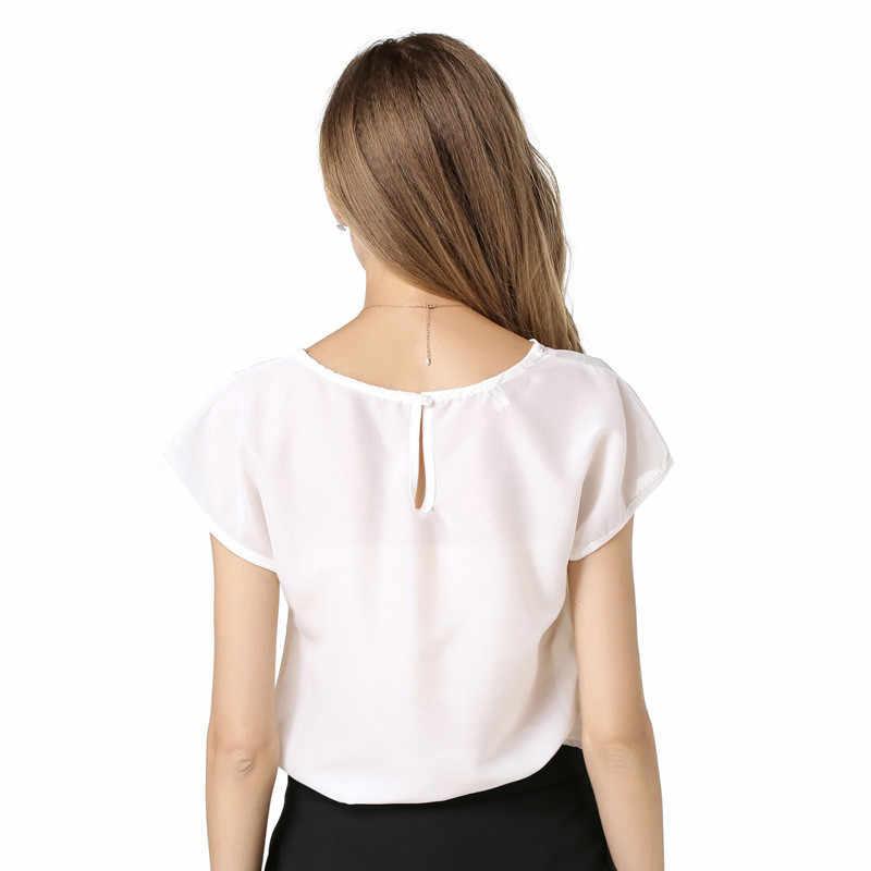 Cncool נשים של חולצה קיץ אופנה מאה-חיק קודמו מגולף חלול קצר שרוול שיפון חולצה נשים 2018 חדש