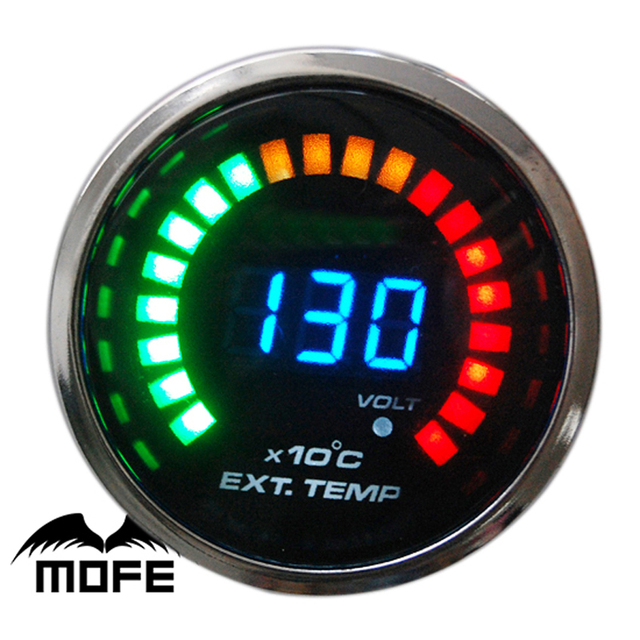 MOFE Original Logo Smoke Lens 20PCS LED Digital 52mm EGT Exhaust Gas Temp Gauge With Temperature Sensor