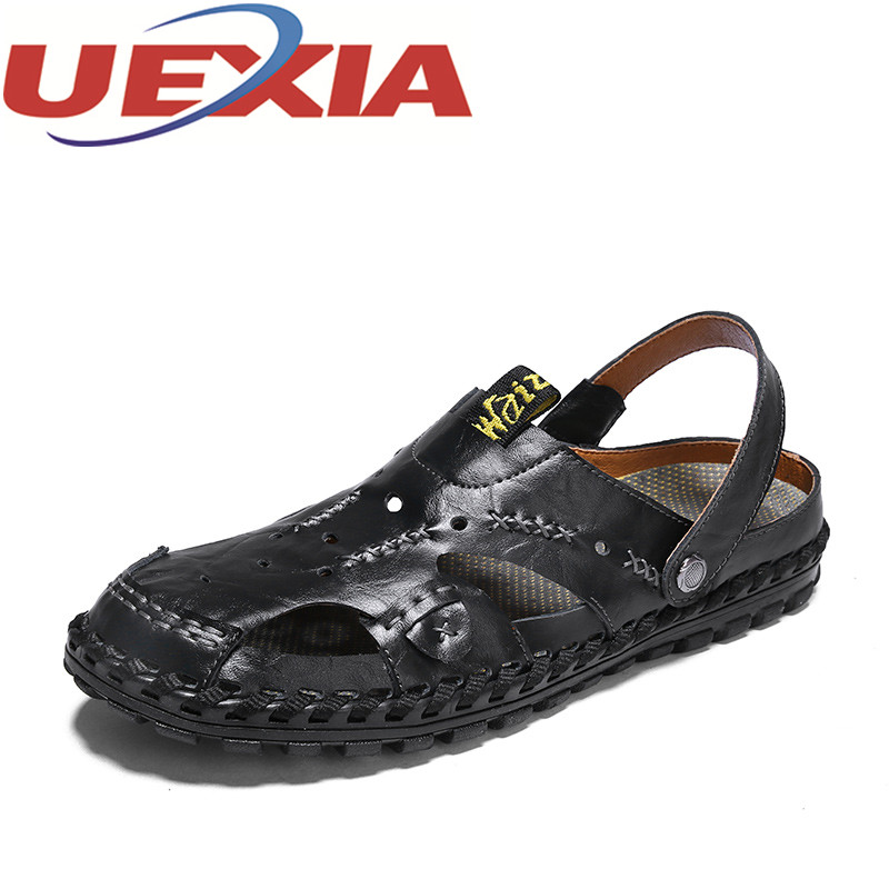 Summer Sandals Men Outdoor Breathable Slippers Pu Leather Shoes Men Beach Casual Sandalias Hombre Men Slip On Shoes Flip-Flops