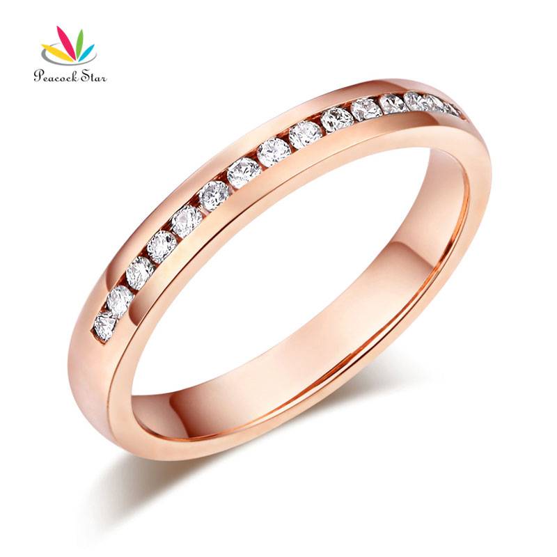 Peacock Star 14K Solid Rose Gold Wedding Band Half Eternity Ring 0.17 Ct Diamonds