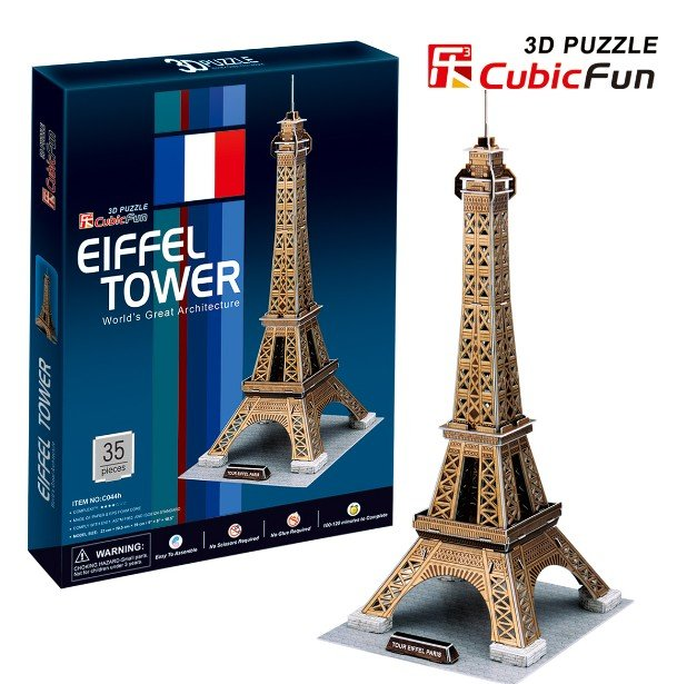 Original Cubicfun 3D puzzle paper model toy stereo DIY model C044H golden Eiffel Tower - New Gift free shipping series s 3d puzzle paper diy papercraft double decker bus eiffel tower titanic tower bridge empire state building