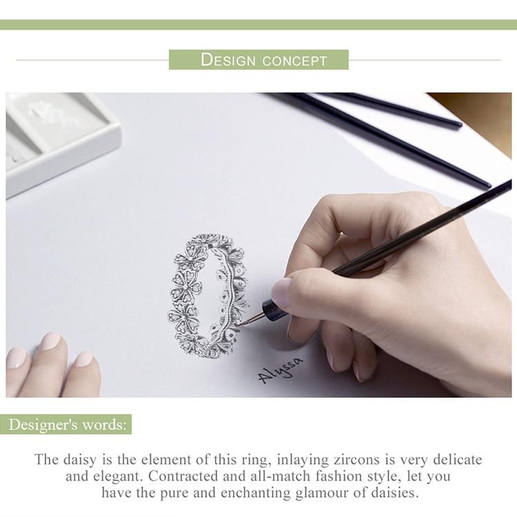 HTB1K8.gdBgXBuNjt hNq6yEiFXad BAMOER Trendy New 100% 925 Sterling Silver Stackable Daisy Flower Finger Rings for Women Sterling Silver Wedding Jewelry SCR397
