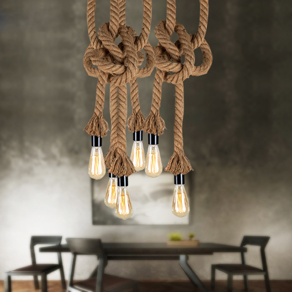 Retro Loft Hemp rope Pendant light Creative Dining Room Living Room American Style Coffee shop Bar pipe Iron style Pendant Lamp