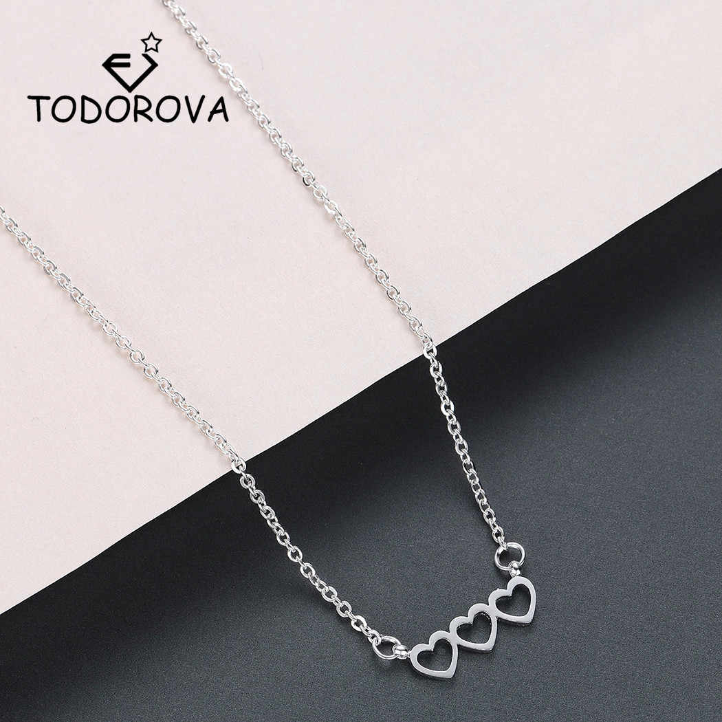 Todorova Stainless Steel Triple Heart Pendant Necklace Women Jewelry Stainless Steel Rose Gold Necklace Collier Bijoux Femme