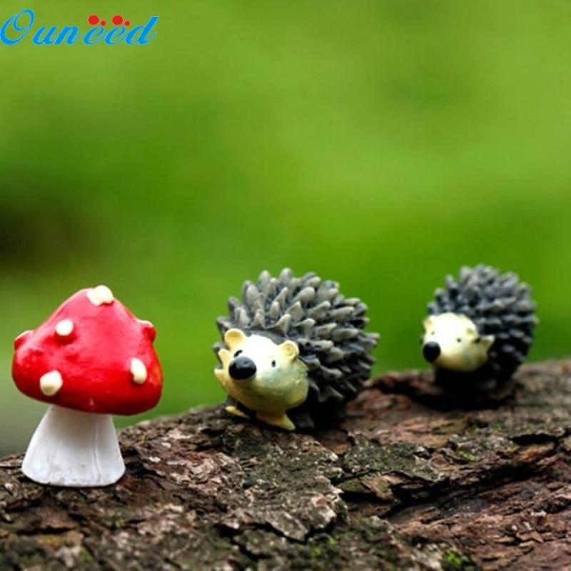 Ouneed Happy Garden Mossfairy Miniature Ornament Hedgehog Mushroom Set Decor Fairy Garden 3Pcs