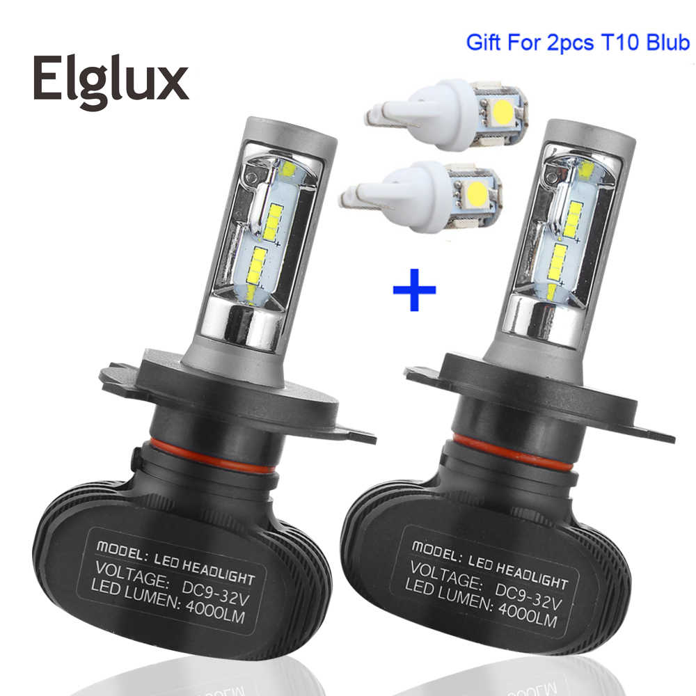 Elglux S1 50W Car Led H7 Headlight Auto Bulbs H1 H3 H11 9005 9006 8000LM Led Headlights Lamp H4 6500K Lights+Gift LED Blub