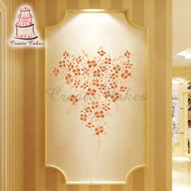Plants Wall Painting Stencil, Cake Decorating Plastic Stencil for ...