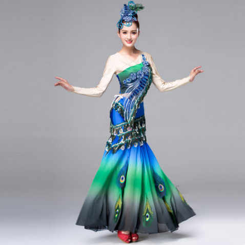 1c3826f5d37 dai dance costumes for women blue peacock dance clothes chinese ...