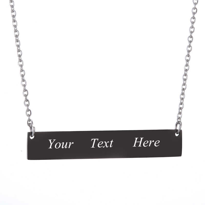 Personalized Engraved Name in 316 stainless steel ID Bar Necklace Custom Made with Any Word Letters nameplate necklace Jewelry