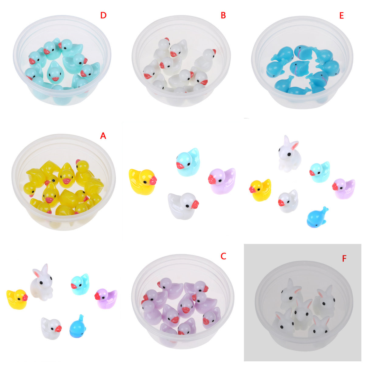 5/10pcs Fluffy Clear <font><b>Slime</b></font> DIY Toy Mini <font><b>Duck</b></font> Rabbit Fairy Garden Home Plants Decor Resin Crafts Miniature Dollhouse Gift Toys image