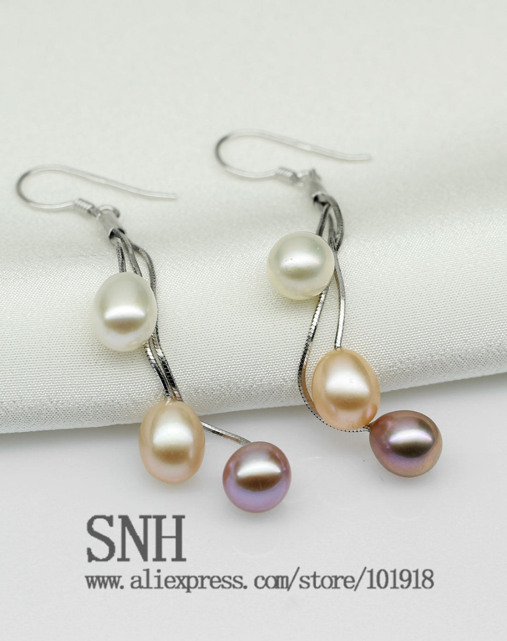 Aliexpress : Buy Snh Natural Genuine Pearl Earring 7 75mm Mixed Color  Pearl Hook Earring With Three Different Colors From Reliable Earring Name
