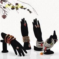 4Pcs Lot Black Velvet Jewelry Display Stand Holder Set Mannequin Hand Finger Model Ring Earring Bracelet
