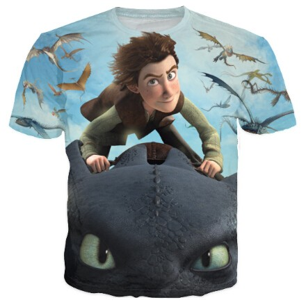 Dragons Riders of Berk Cartoon Crewneck T-Shirt Tops tshirt Toothless Night Fury and Hiccup Character tees For Women Men