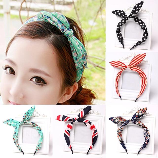 Fashion 1PC New Arrival Women Girls Bow Lovely Dots/Stripe/Floral/Leopard Rabbit