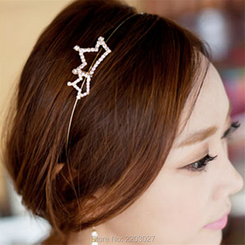 Korean Fashion font b Women s b font Alloy Double Crown of Fine Gold Crystal studded
