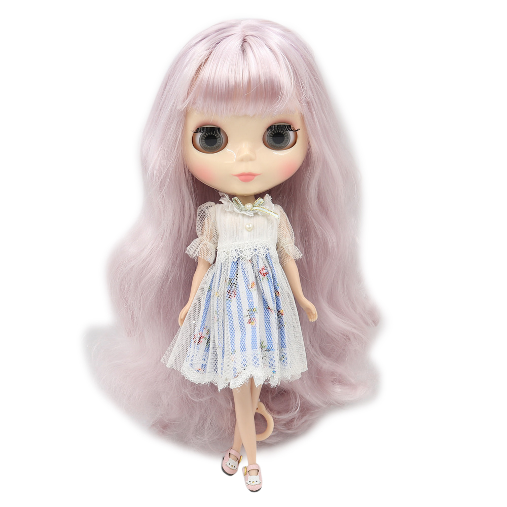 Blyth 1/6 Nude Doll Joint Body Long Wavy hair Red mix