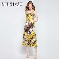 2018 Spring Newest Fashion Europe Style A-Line Strapless Leopard Print Spaghetti Strap Casual Mid-Calf Long Dress Women