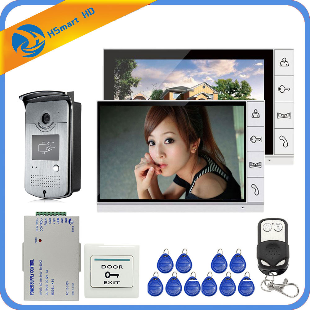 9inch LCD Screen Color One to Two Video doorphone system RFID Access Doorbell HD Camera + Power Supply + Door Exit-in Video Intercom from Security & Protection