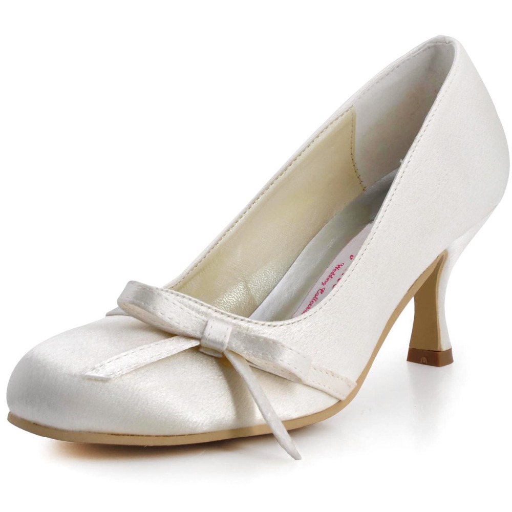 A0756 Women Bride White Ivory Prom Party Round Closed Toe Med Heels 2.5'' Bridal Pumps Bow Satin Wedding Bridal Dress Shoes