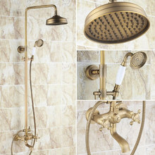 Vintage Retro Antique Brass Dual Cross Handles Bathroom 8 Inch Round Rain Shower Faucet Set Tub Mixer Tap Hand Shower mrs126 bathroom tub faucet dual cross handles with hand held sprayer antique brass