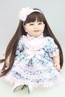 55CM Silicone reborn baby doll toys wear Purple floral dress for girl, lifelike reborn babies play house toy brinquedos bonecas