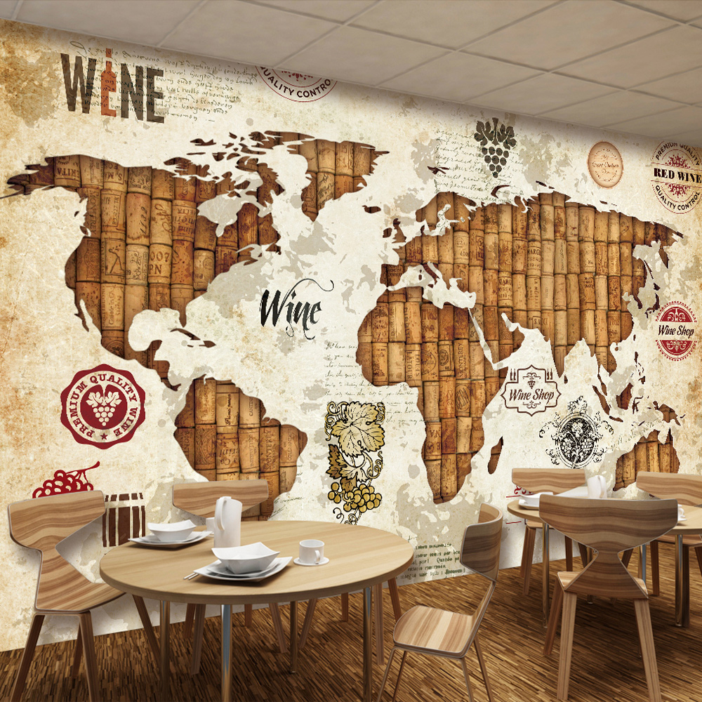 Custom wall mural wallpaper world map red wine oak for Custom wall mural
