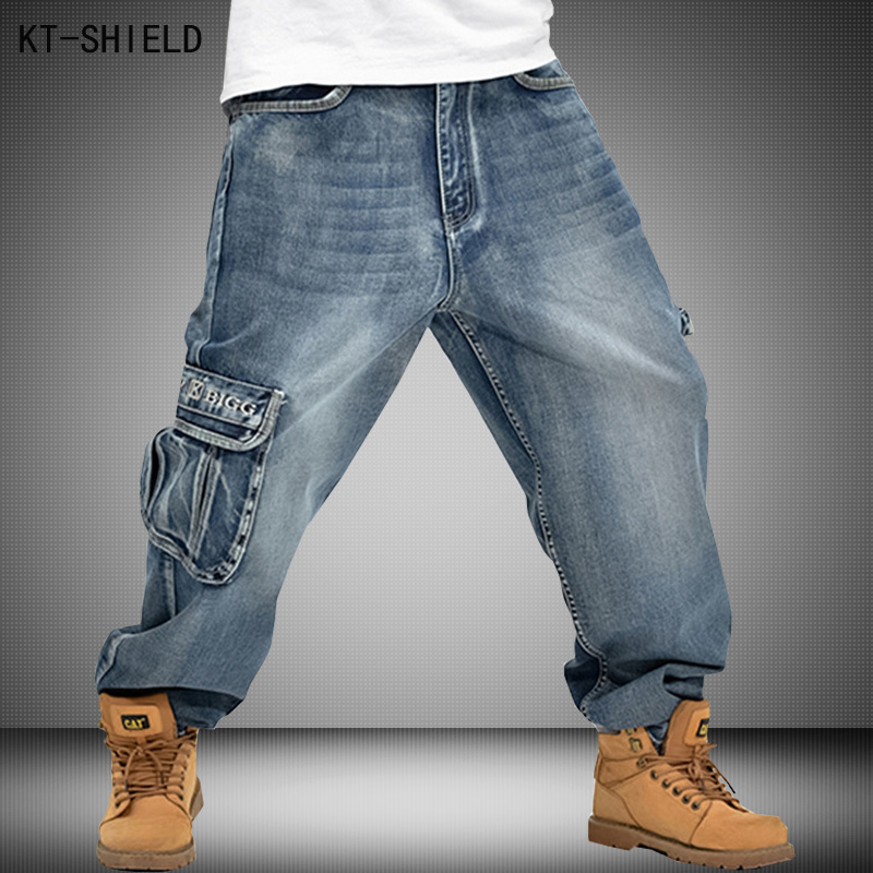 Men Baggy Jeans Casual Hip Hop Long trousers Loose fashion trend Skateboard Relaxed Fit Vaqueros Hombre Street dance Pants 30-46 men hip hop jeans pants fashion skateboard baggy denim jeans casual man white biker vaqueros hombre masculina pantalones