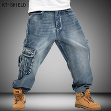 Washing Men Baggy Jeans Mens Hip Hop Jeans Long Loose fashion trend Skateboard Relaxed Fit Jeans Men Street dance Pants 30-46