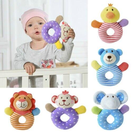2019 Cute Cartoon Handbells Musical Developmental Toy Bed Bells Kids Baby Toys Rattle Bell Jingle Birthday Gifts