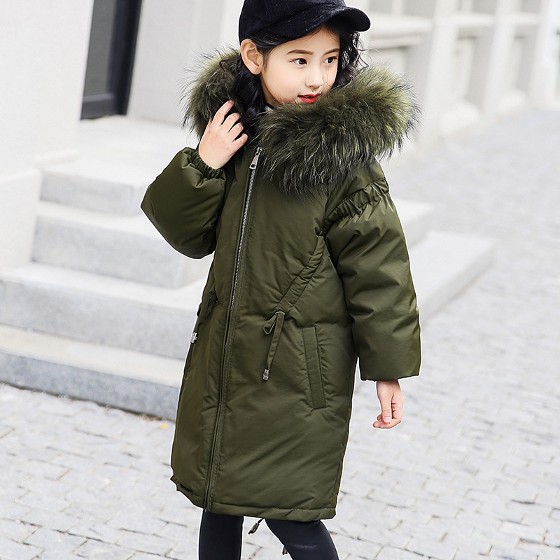 купить 2018 Down Jacket For Girls Fur Hooded Girls Parka Long Warm Kids Outerwear Autumn Teenage Clothing For Girls 6 8 12 Years Winter по цене 3896.94 рублей