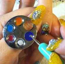 Popular 1 Unid Mini Finger Nail Art Palette Gratis Manicure Mano Anillo Paleta Linda Huella Diseño Redondo