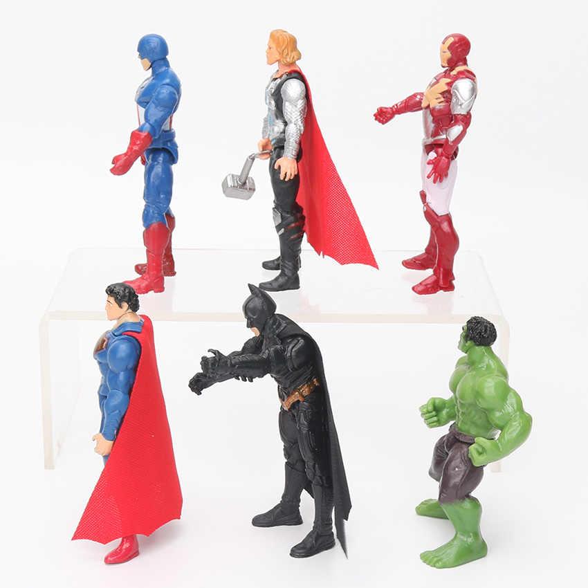 6pcs 10.5 centímetros Brinquedos Marvel The Avengers Figura Conjunto de Super-heróis Batman Hulk Thor Capitão América Figura de Ação Collectible Modelo boneca