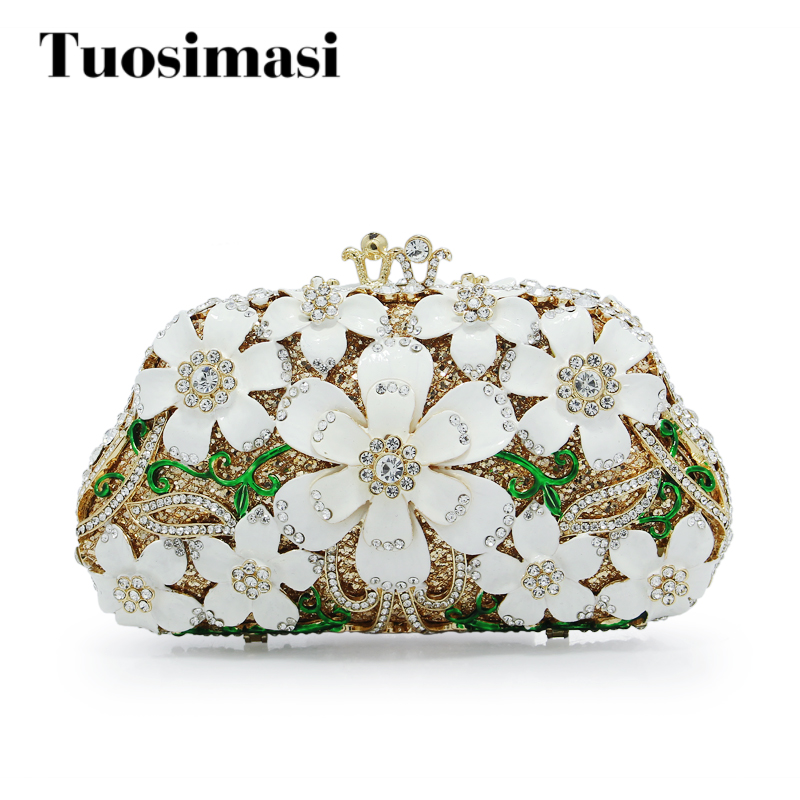 Ladies Bling Bag Flower Pattern Evening Bag Blue Luxury Crystal hollow out Evening Clutch Bag gold crystal Clutch(HS-0311) aidocrystal sexy ladies black crystal purses crystal flower pattern clutch evening bag