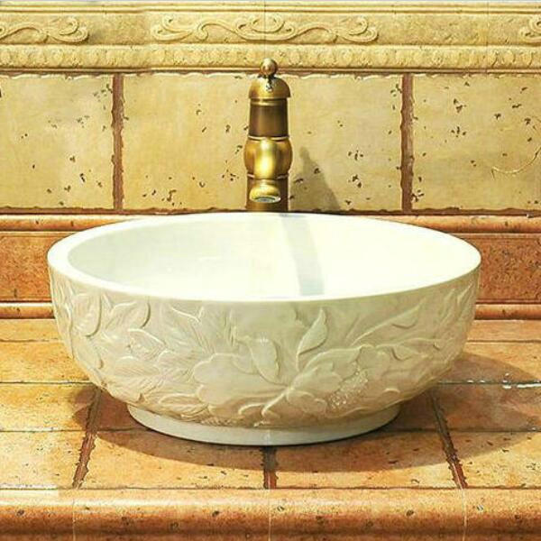 Final 2 Pieces China Artistic Porcelain Handmade Embossed Ceramic Lavabo  Bathroom Vessel Sinks In Bathroom Sinks From Home Improvement On  Aliexpress.com ...