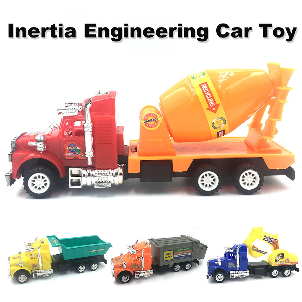 4 Styles Mini Inertia Plastic Construction Vehicle Engineering Cars Excavator Model Toys For Children Boys Gift
