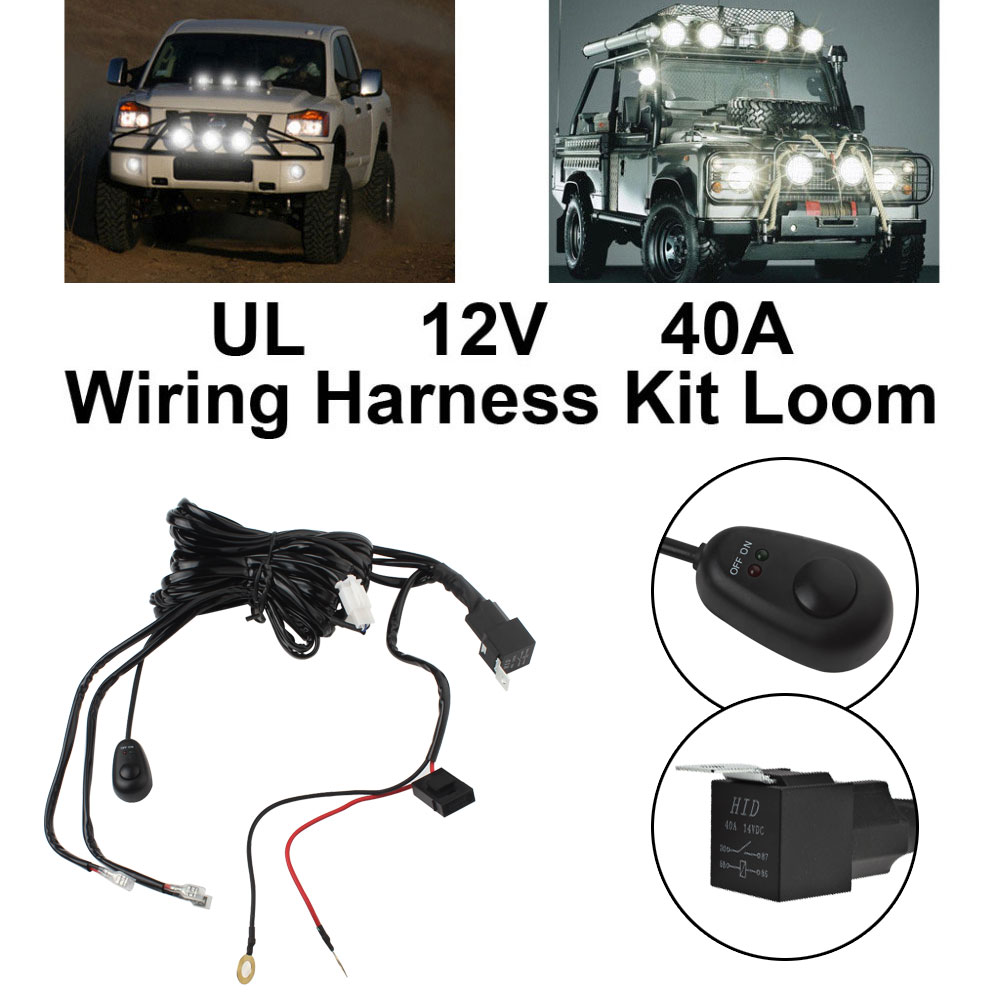 Universal 12V - 40A Car Fog Light Wiring Harness Kit Loom For LED Work Driving Light Bar With Fuse And Relay Switch