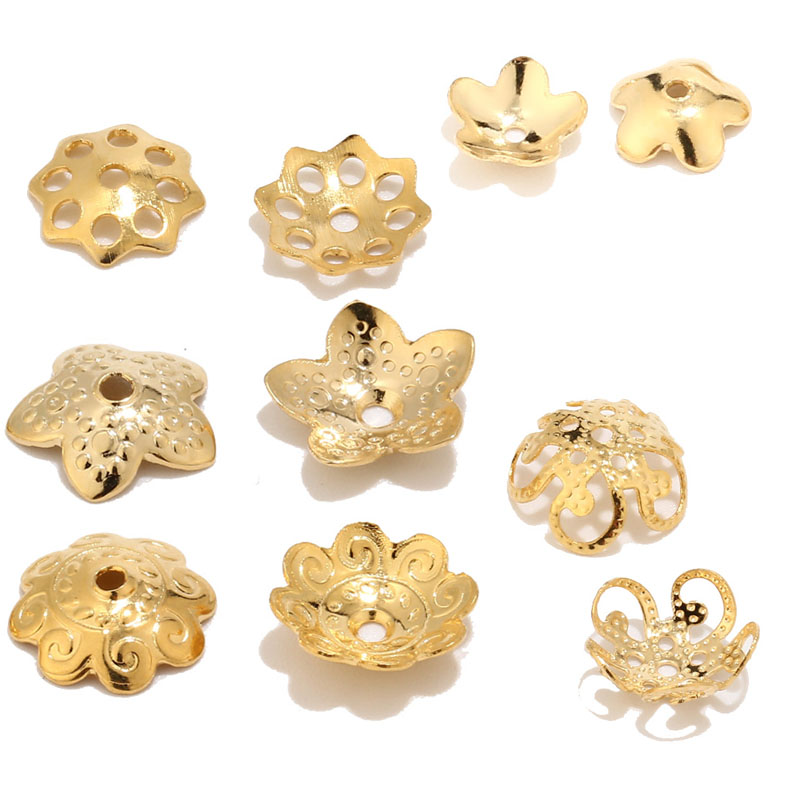 6mm/10mm Gold Stainless Steel Flower Charm Beads Caps Torus For Jewelry Making Accessories DIY Craft Necklaces Bracelet Findings