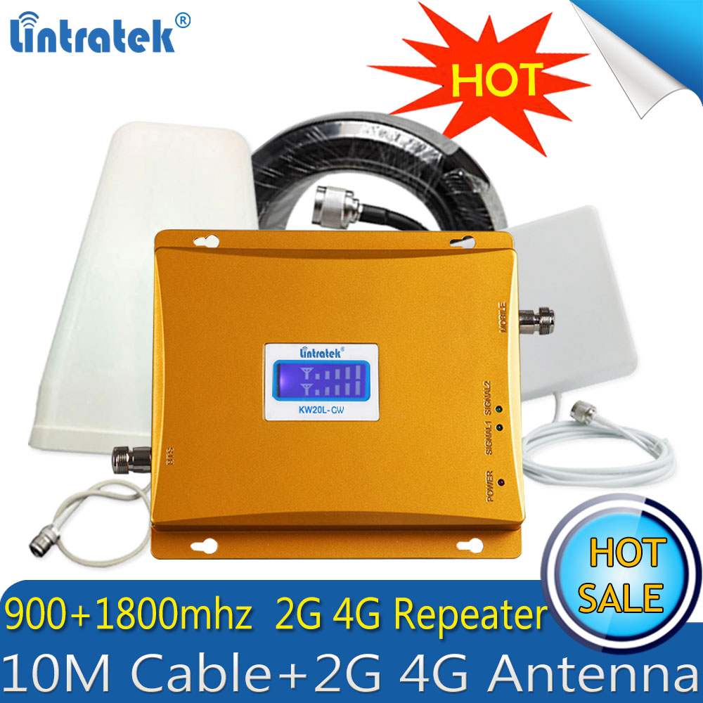 Lintratek Russia 4G Repeater 2G GSM 900 4G DCS LTE 1800 MHZ Cell Phone Signal Booster