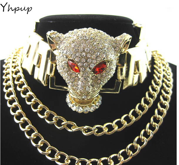 Brand Chain PU leather adjustable collar luxury chunky full crystal Rhinestone leopard head necklace rhinestone studded chain necklace