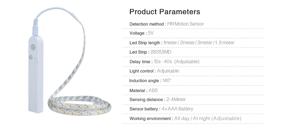 EeeToo PIR Motion Sensor LED Strip Waterproof Battery Powered Auto Onoff 5V 2835 USB Cable LED Tape for Kitchen Cabinet Bedroom (5)