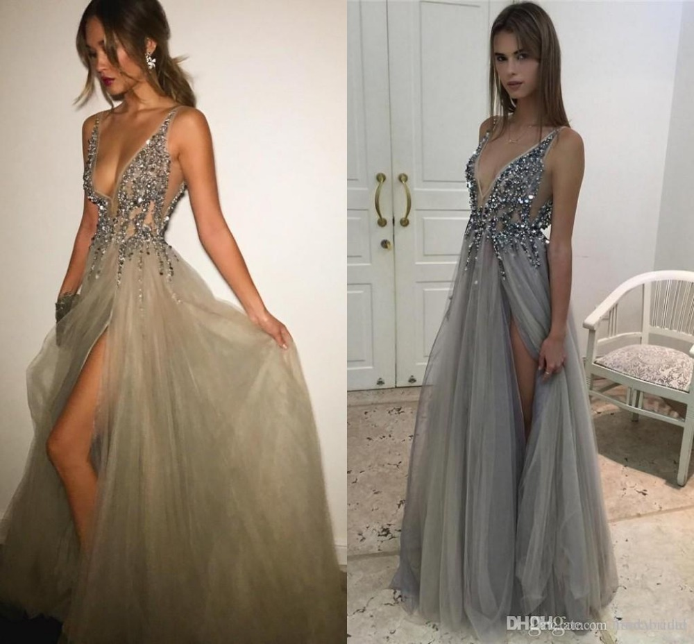 Beading Evening Dresses V Neck Tulle Silver Nude Sexy -3858