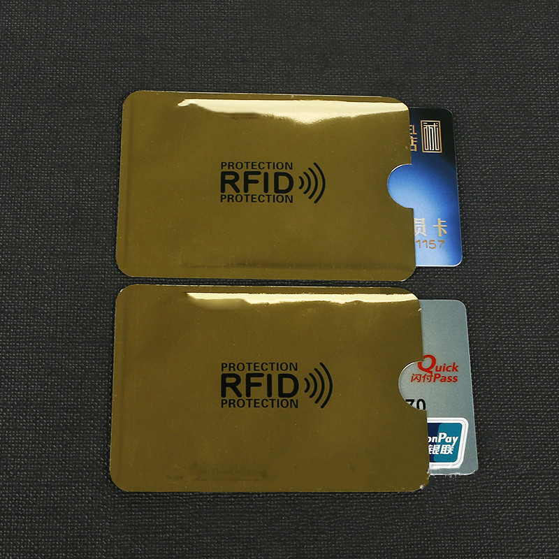 10 Pcs Yellow Anti-Scan Card Sleeve Credit RFID Card Protector Anti-magnetic Aluminum Foil Portable Bank Card Holder